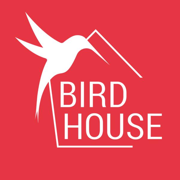 Birdhouse logo staand neg 01
