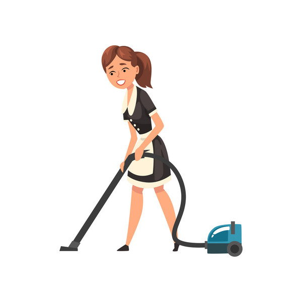 Smiling maid with vacuum cleaner housemaid vector 23593258