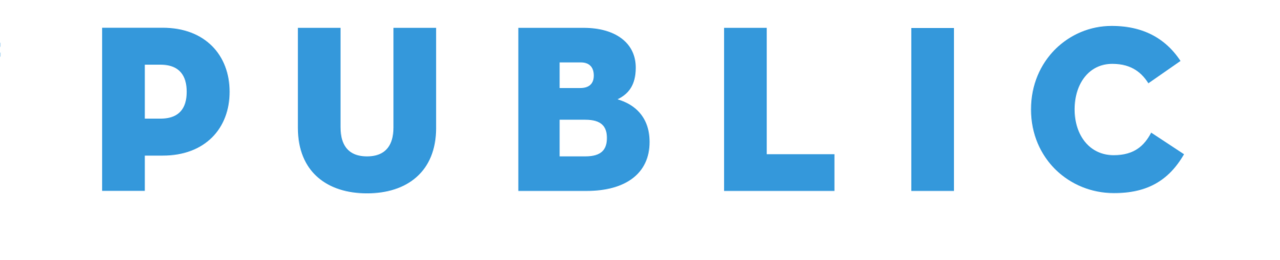 Public logo blue on white bar