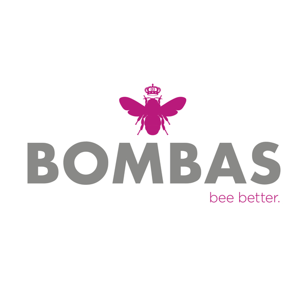Bombas logo grey pink 20bee